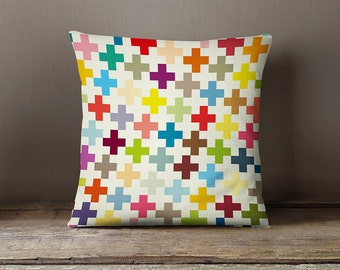Decorative pillow cover with colourful crosses, kids bedding, kids pillows, cushion cover, pillows for kids, kids throw pillow, modern kids