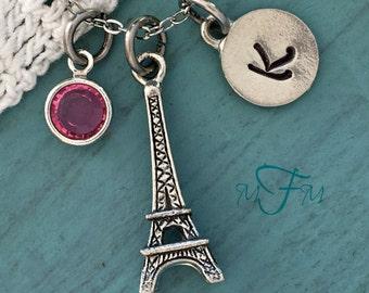 Eiffel Tower Charm Necklace, Personalized Necklace, Silver Pewter Eiffel Tower Charm, Paris Necklace, Swarovski Crystal birthstone, monogram