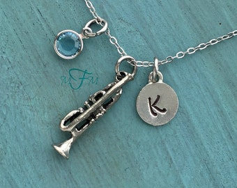 Trumpet Charm Necklace, Personalized Necklace, Silver Pewter Trumpet Charm, Custom Necklace, Musical Jewelry, Classical Music Gift