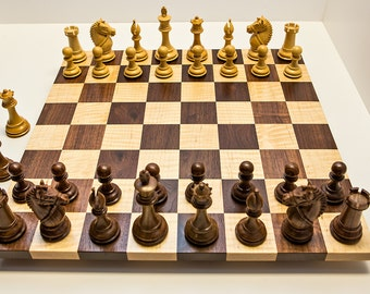 Handcrafted Competition Sized Semi Gloss Hardwood Chess Set Chess Board Chess Game Walnut Tiger Maple Chessboard Christmas