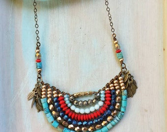Beaded Naguine Necklace Turquoise, Coral, Pyrite, Glass, One-of-a-kind, *Ready-to-ship*