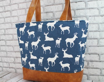 Lulu Large Tote Navy Dee  and PU Leather- TREADY to SHIP Cherry Dot Lining  Diaper Work Travel Nappy Bag