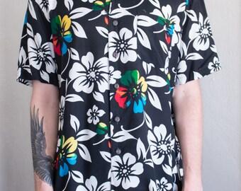 tropical hibiscus shirt - L