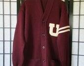 Vintage Wilson Cardigan Sweater Mens Dark Maroon Red Off White Ivory 38 40 Small Medium Varsity Letter 1950s 1960s Sporting Goods USA