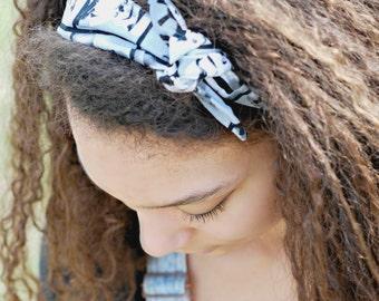 Tie Headband made from Storm Trooper Star Wars Fabric, Bandana Style Bow Headband