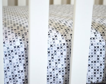 SALE - Fitted Crib Sheet Pepper Crosses - Black Crib Sheet - Plus Sign Crib Sheet - Black Crib Bedding - Monochrome Baby Bedding