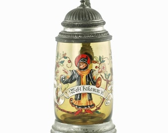 Antique German Hand Blown Enameled Glass Munich Child 0.5L Stein with Embossed Steepled Pewter Lid and Thumblift