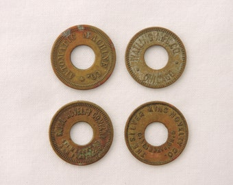 Antique 1910s Brass Slot Machine Tokens - 5 cent Trade Tokens - Trade Stimulator Tokens - Royal Novelty Co, Watling Mfg, Silver King Novelty