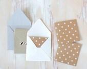 Kraft White Polka Dot Embossed Mini Square Cards - 10 pc