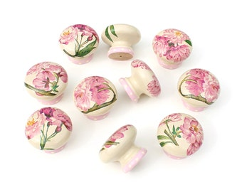 Door Knob, Cherry Blossom Knobs, Wooden Drawer Knob, Floral Drawer Pull, 45mm, Drawer Pull, Cabinet Knob, Shabby Chic Door Knob