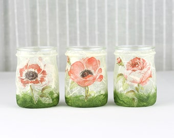 Glass Lanterns, Floral Design, Set of 3, Glass Tea Light Holder, Glass Candle Holder, Glass Home Decoration, Floral Candle Holder