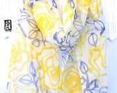 Hand Painted Silk Scarf, Yellow and Blue Scarf, Gift for Women Scarf, Yellow Roses Scarf, Japan Scarf, Silk Chiffon Scarf, 11x60 inches.
