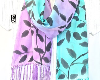 Small Silk Scarf Handpainted, ETSY, Fringe Scarf Silk, Mint Green and Purple Scarf, Black Vine Leaves Scarf, Silk Scarves Takuyo, 8x54 in