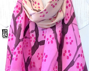 Silk Scarf Handpainted, Pink Japanese Scarf, Floral Scarf, Womens Silk Scarf, Charmeuse Silk, Pink Plum Blossoms Scarf, Takuyo 15x60 inch