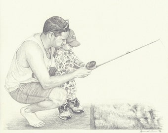 """Custom Portrait 6x8"""" - Drawing From Your Photo - Two Portraits or Pets"""