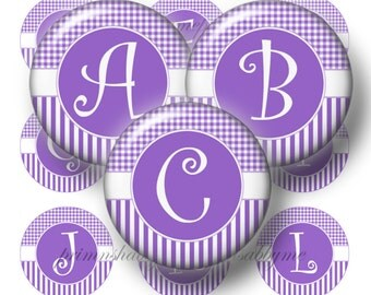 Bottle Cap  Images, Alphabet. Letters, Digital Collage Sheet, Initials, 1 Inch Circle, Amethyst, Gingham, Stripes,  No.1 Instant Download