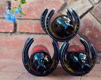 Recycled Steel Horseshoe Wine Rack. #3