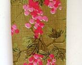 1970s Vera Neumann Tea Towel - Pink Beauty Berries Dish Towel - Designer Ladybug - Vintage Linens - Fall Winter Kitchen Decor - Gift Idea