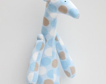 Stuffed giraffe plush softie handmade giraffe cute blue white cream polka dot toy for little children for girl boy birthday gift baby shower