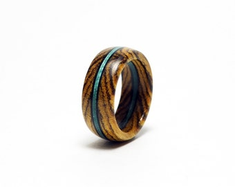 Wooden Ring with Stained Wood Accent
