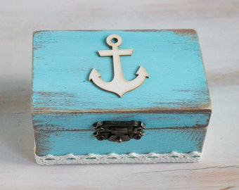 Beach Ring Bearer Box Nautical Wedding Ring Box Ring Holder Anchor Ring Box Blue Wedding Box Beach Weddings Еngagement ring box