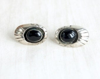 Onyx Post Earrings Southwestern Sterling Silver Vintage Shadowbox Pierced Posts Shadow Box Studs