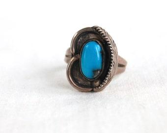 Turquoise Ring Southwest Feather Size 5 .5 Vintage Southwestern Boho Jewelry Pinky Ring