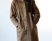 Vintage 60s Nutmeg Brown Suede Retro Coat with Fur Collar Size Small Medium - FREE SHIPPING U.S Only