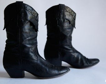 Vintage 80s Laredo Black Cowboy Boots Supple Leather Ankle Boots size 8 Medium Made in America -  FREE SHIPPING US Only