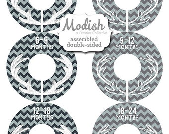Closet Dividers, Assembled, Baby Closet Dividers, Closet Organizers, Boy, Woodland Nursery Decor, Deer, Antlers, Navy, Baby Blue, Gray, Grey