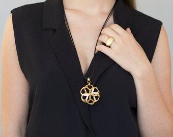 Long Gold Flower Pendant, gold pendant, gold flower pendant, gold and black, fashion pendant, gold fashion pendant, Celtic gold necklace