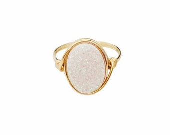 Confetti Druzy Oval Statement Ring