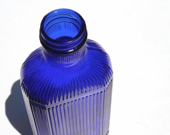 Cobalt medicine bottle, blue glass bottle, vintage blue bottle
