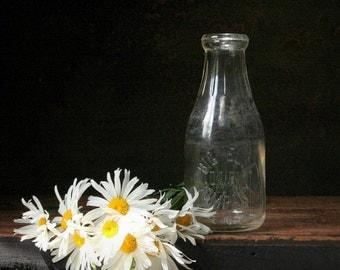 Vintage glass milk bottle, Big Elm Dairy, one quart bottle