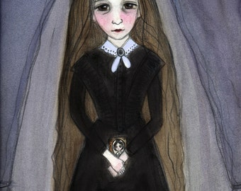 """Victorian Portrait, """"Miss Claire"""", Mourning Art, Girl with Long Hair, (6x8) Watercolor Painting, Momento Mori Art, Victorian Decor"""