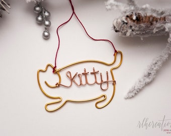 Personalized Cat Ornament / Family Pet Ornament / Cat Name Ornament / Holiday Ornament / Holiday Decor / Christmas Decor / Pet Lover Gift
