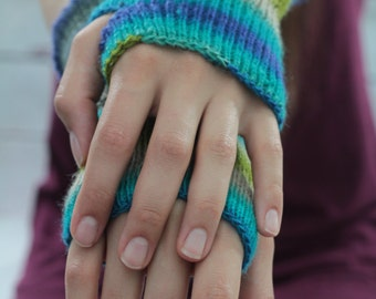 KNITTED WRIST WARMERS shades of blue, geen, turquoise and oatmeal  warm hands subtle and warm wool made to felt mittens gloves open fingers
