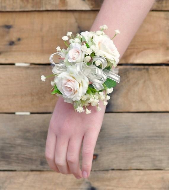 Wedding Corsage Prom Corsage Peach Rose Blush Rose Baby