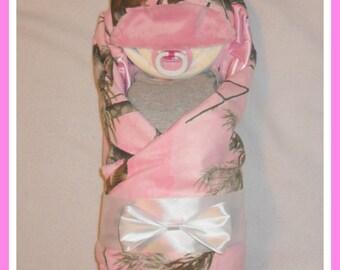 Baby Girl CAMO Diaper Cake Baby-Adorable Baby Shower Gift Or Centerpiece