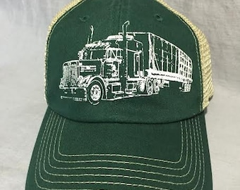 Truck on a Trucker Hat, Screen Print, Forest Green
