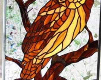 "CUSTOM - The Wise Owl Stained Glass Panel - 20"" X 14"""