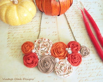 Pumpkin Spice Necklace,Fall Statement Necklace,Rosette Jewelry,Rosette Bib Necklace,Fall Rosette Necklace,Fabric Jewelry,Boho Chic Jewelry