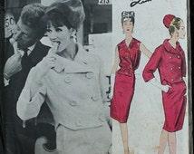 Vogue Paris Original Lanvin Castillo 1213 1960s 60s Double Breasted Skirt Suit Jacket Wrap Blouse Vintage Sewing Pattern Size 16 Bust 36