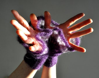 Hand Knitted Lace Cuffs, Hand Knit Mittens, Lace Knit Mittens, Wrist Warmers, Purple Mittens,