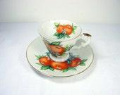 Vintage ORANGES DEMITASSE CUP California Souvenir Tea