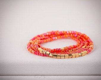 Long Beaded Necklace in Coral and Gold