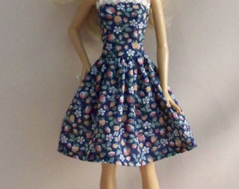 Handmade Barbie Doll Clothes-Navy Floral Cotton Print Barbie Dress