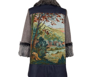Wool coat FOREST TRILOGY - size L/40 - fall/winter '15 #4 - women wool coat with faux fur and vintage tapestry, one of a kind