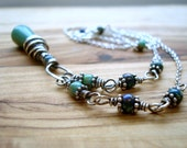 Turquoise Necklace - Wire wrapped necklace - Boho necklace - Green Necklace - Blue Necklace - Everyday Necklace - Turquoise Jewellery