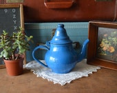 Vintage Small Blue Enamel Teapot Tea Pot Retro